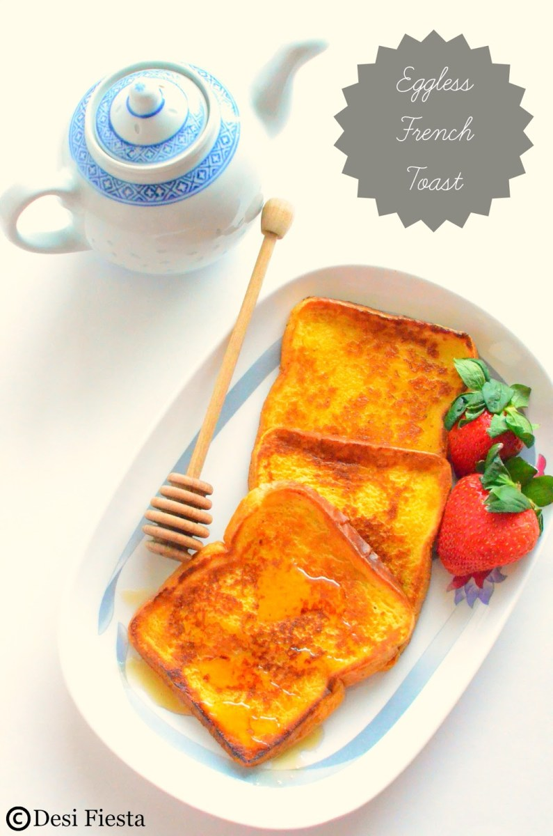 Eggless French Toast | Sweet Version French Toast Without Eggs ( with Custard pd)